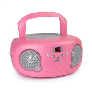 Auna Pink Bonbon CD Boombox, CD přehrávač, bluetooth, FM, AUX-IN, LED display, růžový